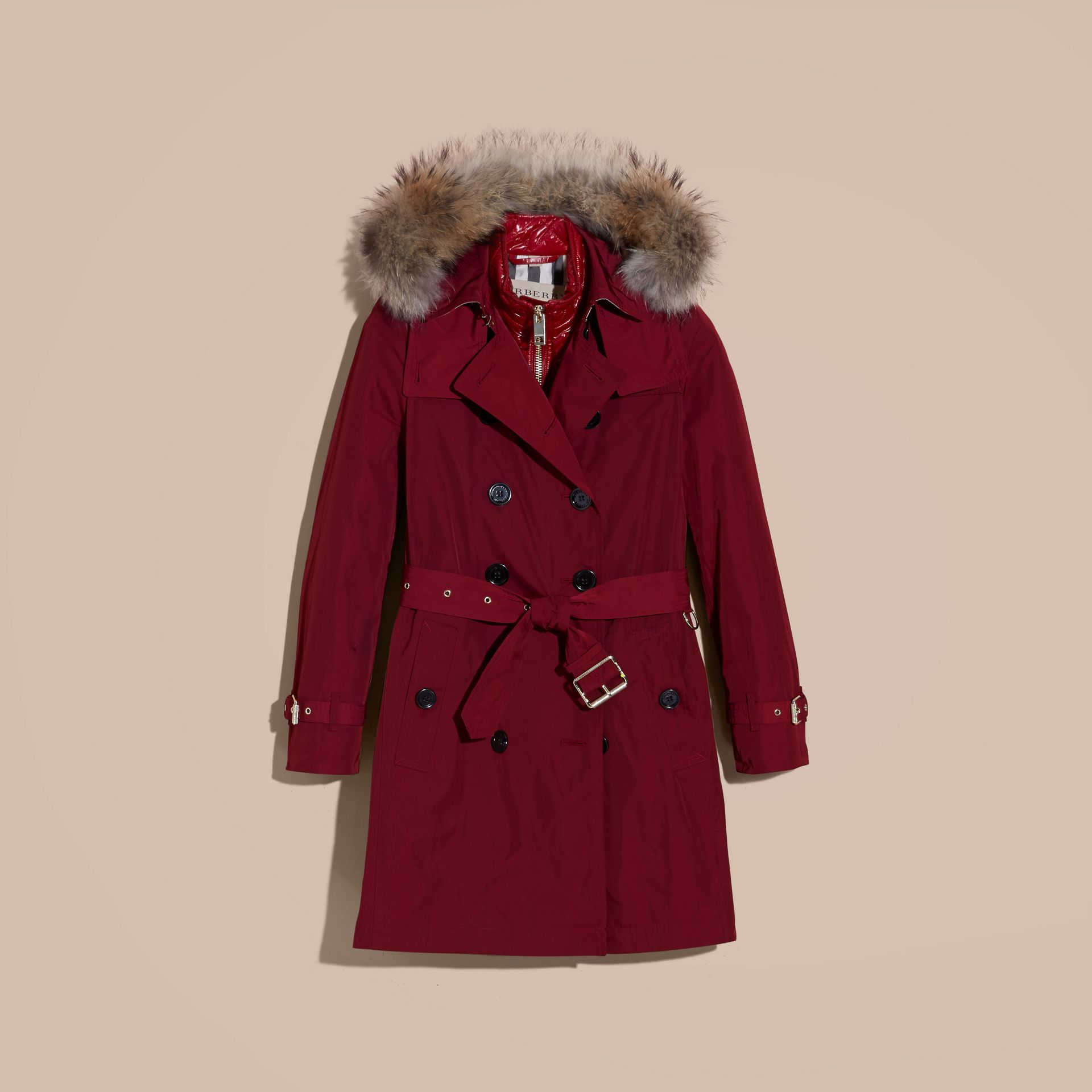 Garnet Raccoon Fur Trim Hood Trench Coat with Gilet - gallery image 4