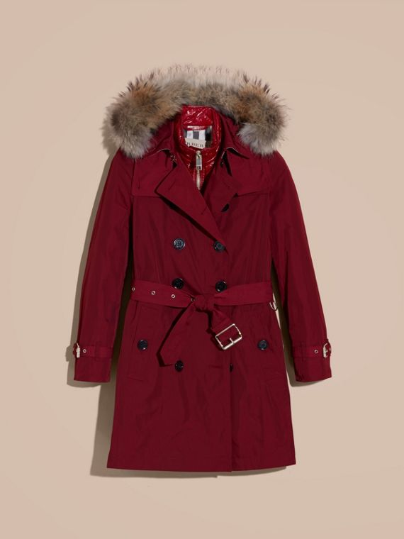 Garnet Fur-trimmed Hood Trench Coat with Detachable Gilet - cell image 3