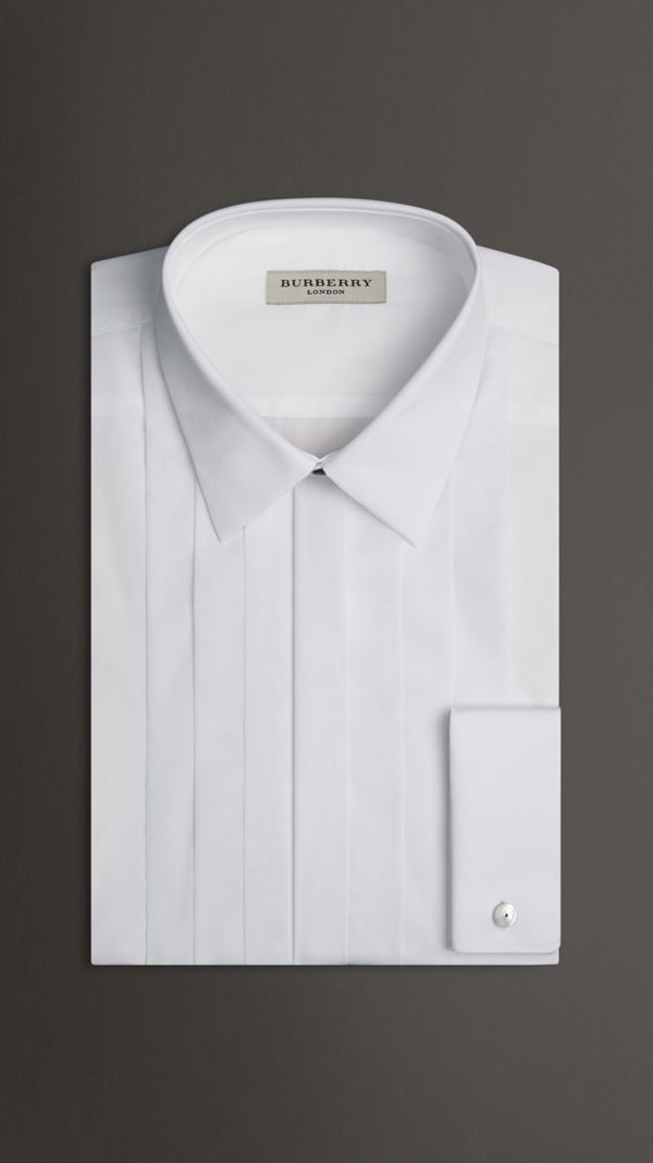 Slim Fit Cotton Poplin Dress Shirt in White - Men | Burberry - cell image 2