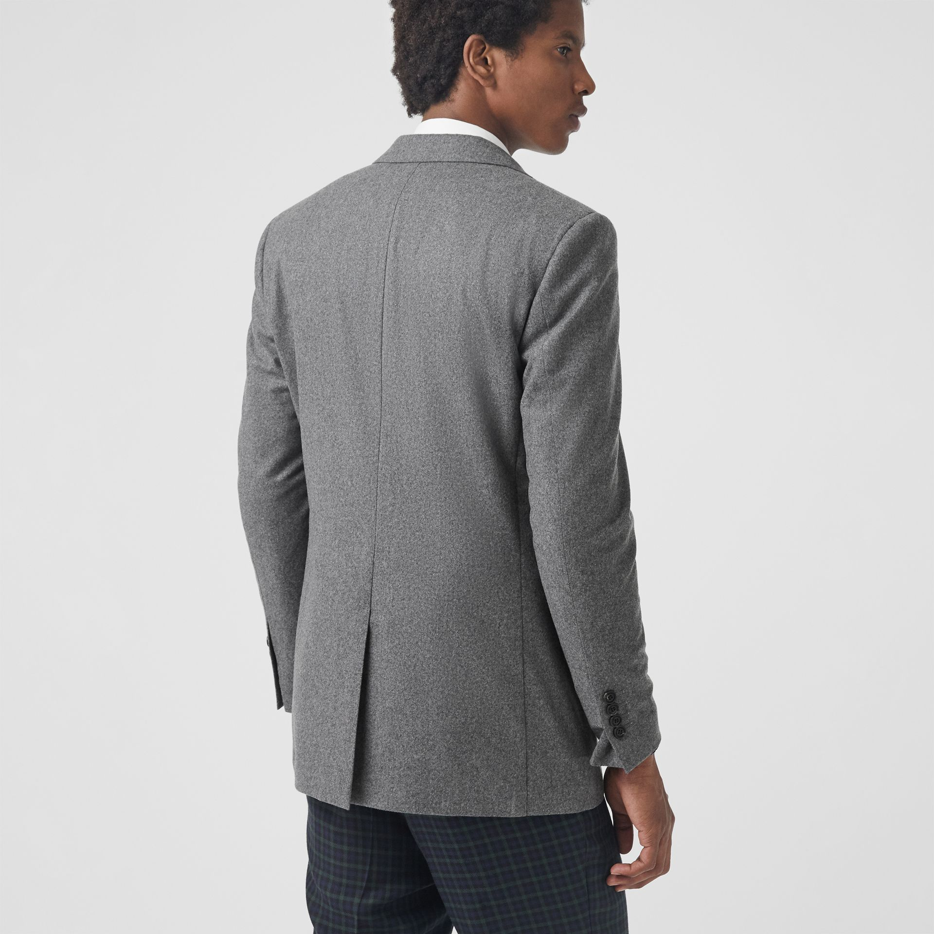 Classic Fit Wool Cashmere Tailored Jacket in Mid Grey Melange - Men | Burberry - gallery image 2