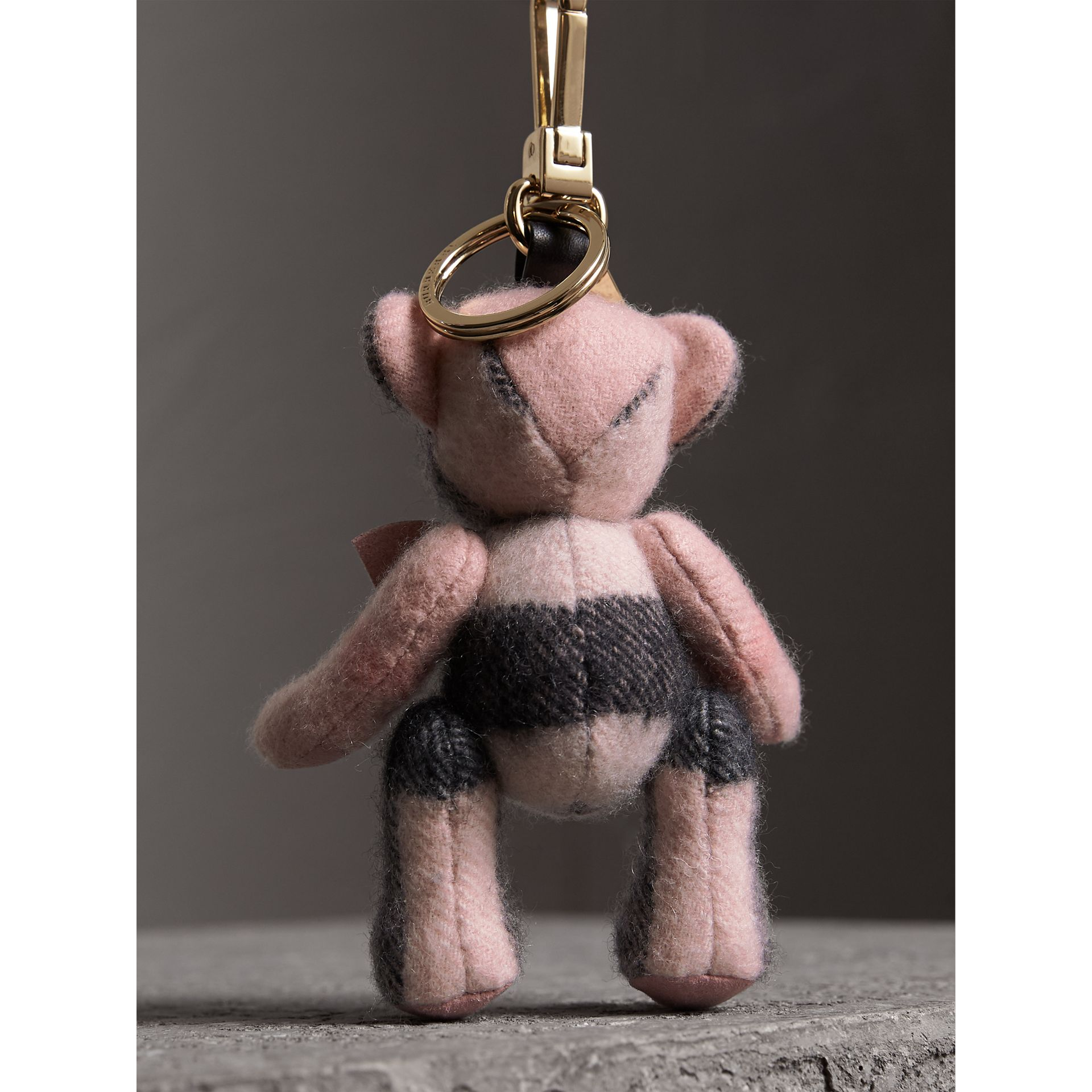 Thomas Bear Charm in Check Cashmere in Ash Rose | Burberry United Kingdom - gallery image 3