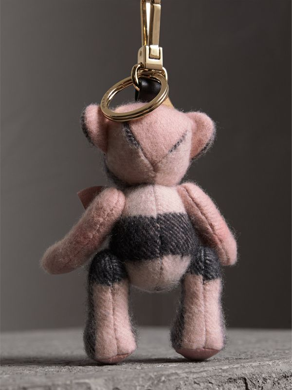 Thomas Bear Charm in Check Cashmere in Ash Rose | Burberry United Kingdom - cell image 3