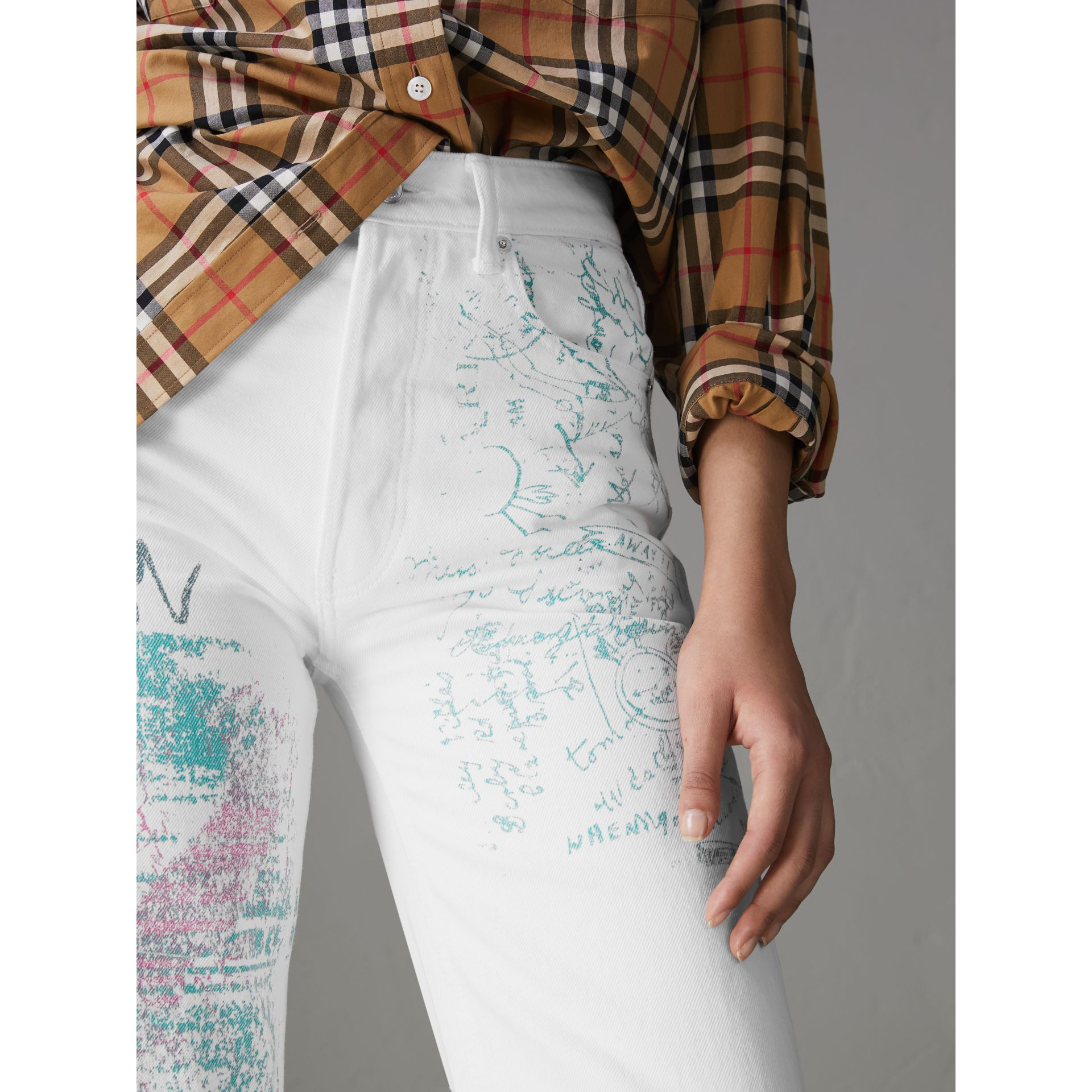 Straight Fit Postcard Print Japanese Denim Jeans in Natural White - Women | Burberry Australia - gallery image 1