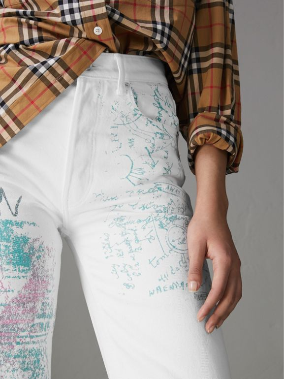 Straight Fit Postcard Print Japanese Denim Jeans in Natural White - Women | Burberry United Kingdom - cell image 1