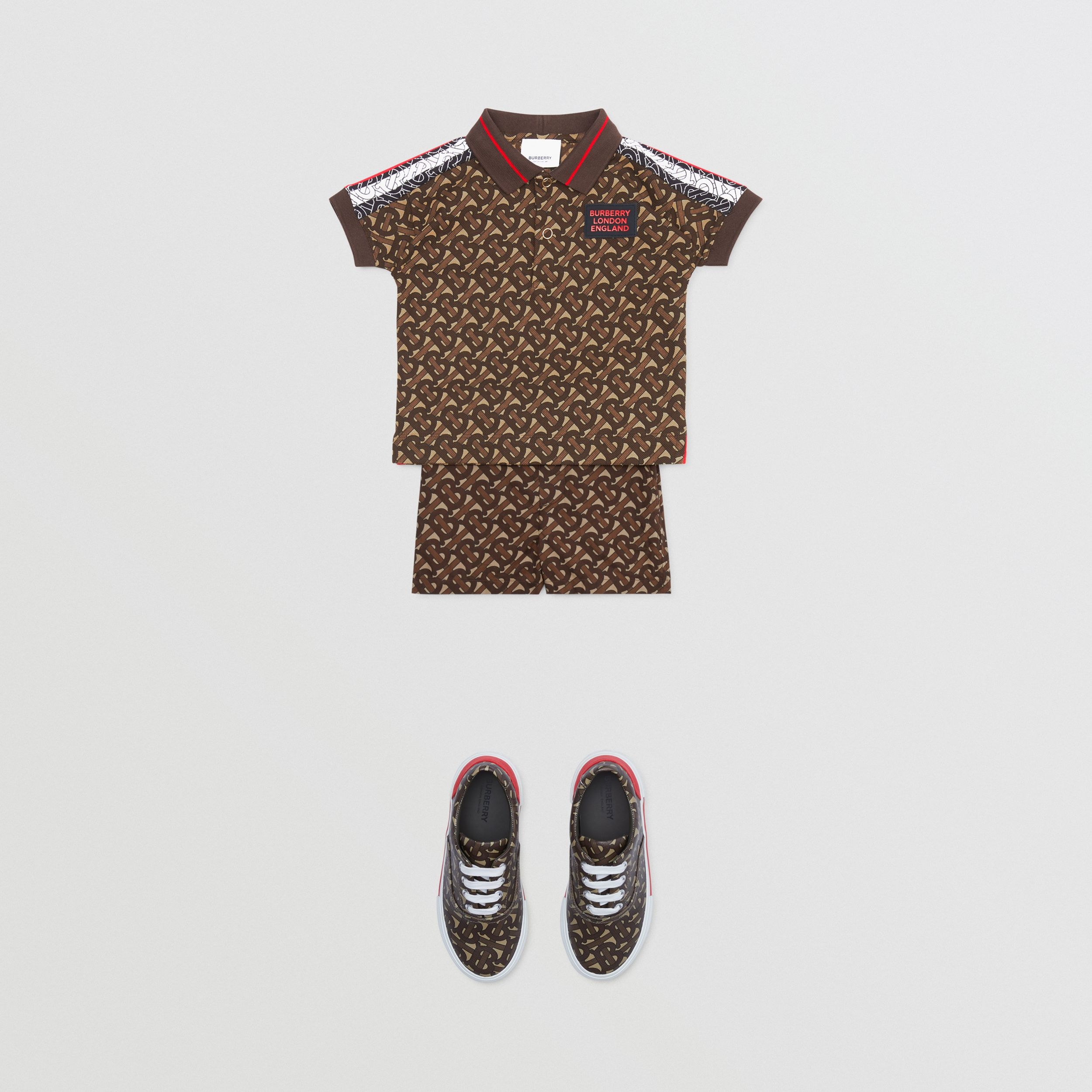 Monogram Stripe Print Cotton Piqué Polo Shirt in Bridle Brown - Children | Burberry - 3