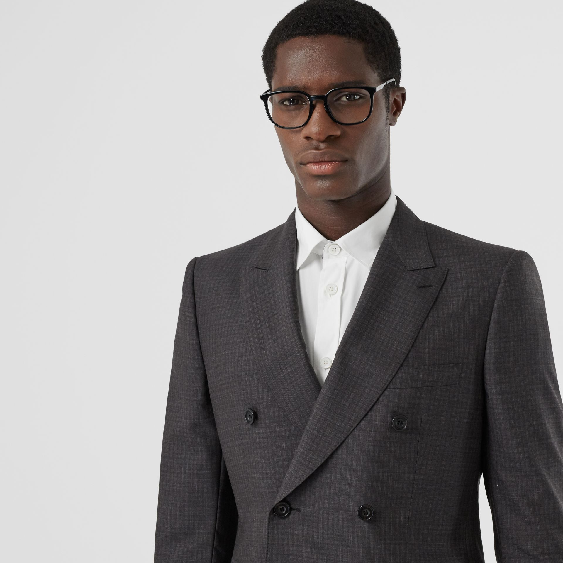 Classic Fit Windowpane Check Wool Silk Suit in Dark Grey - Men | Burberry - gallery image 1