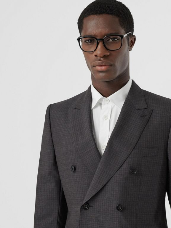 Classic Fit Windowpane Check Wool Silk Suit in Dark Grey - Men | Burberry - cell image 1
