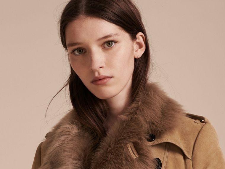 Camel Shearling Trench Coat - cell image 4