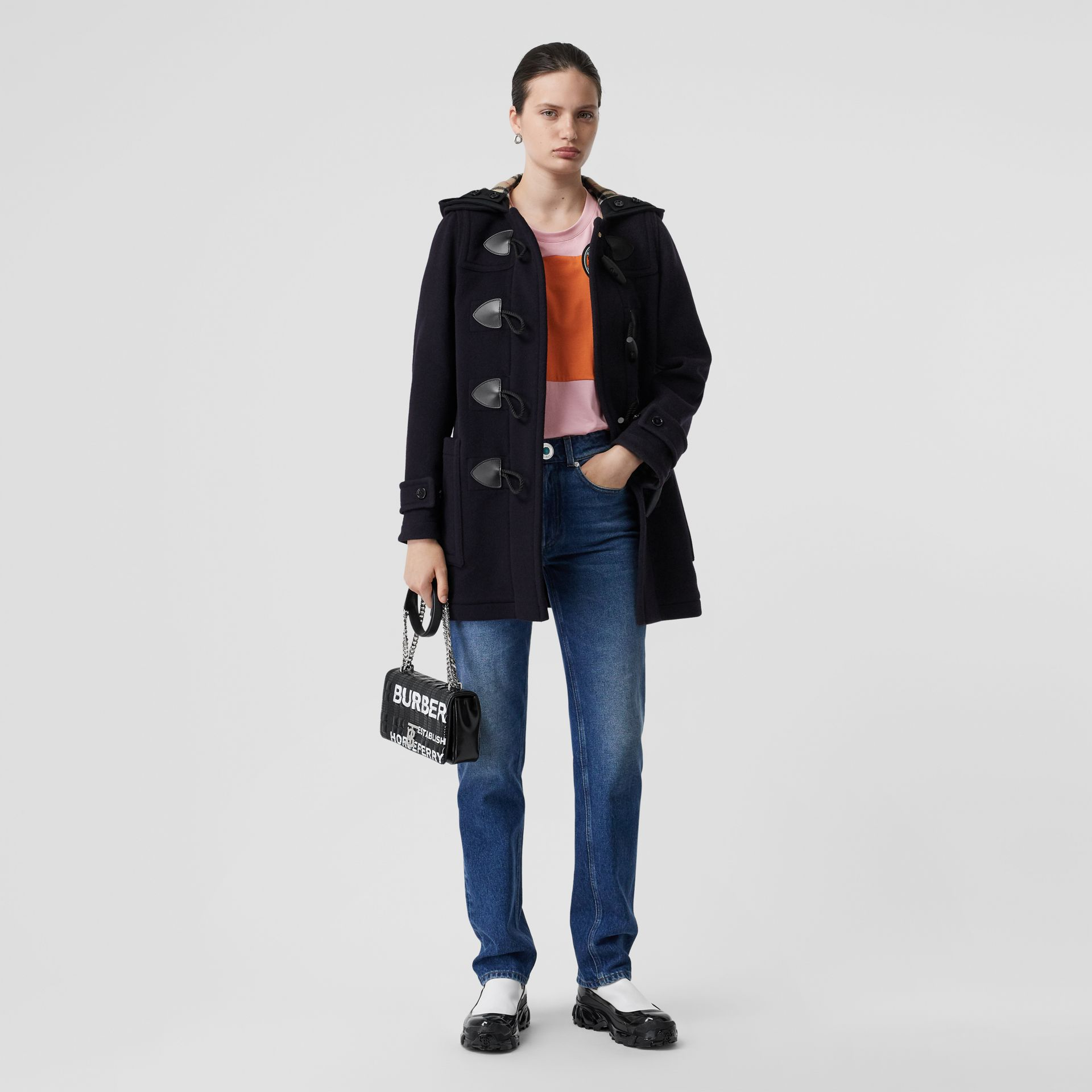 Wool Blend Duffle Coat in Navy - Women | Burberry Hong Kong S.A.R - gallery image 0