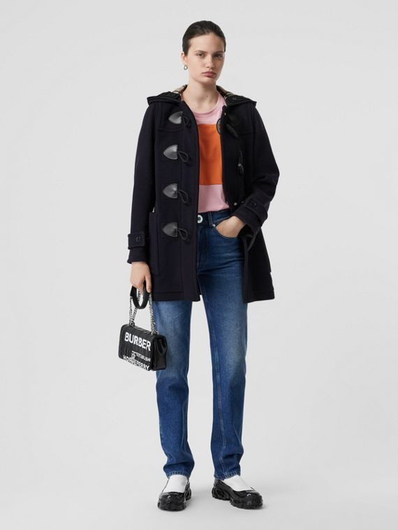 Wool Blend Duffle Coat in Navy