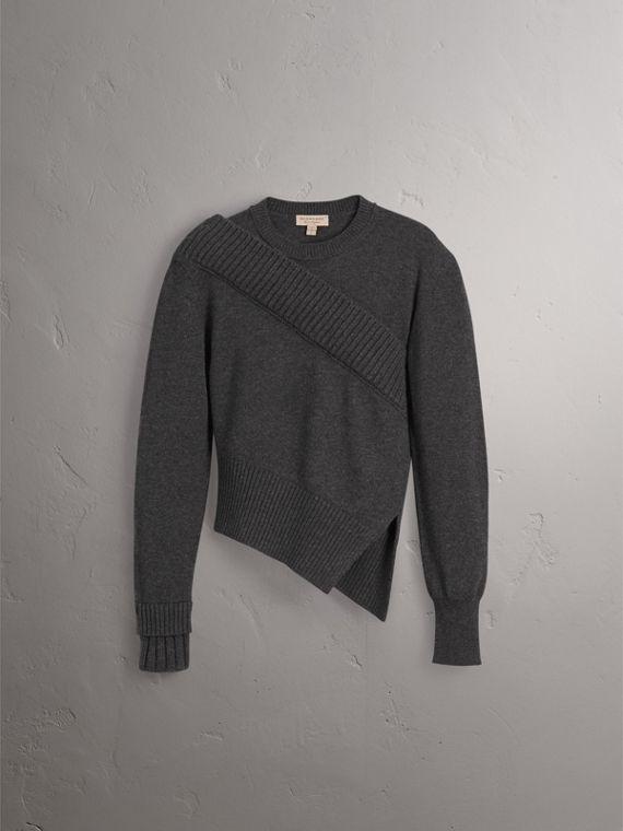 Rib Knit Detail Cashmere Asymmetric Sweater in Charcoal - Women | Burberry - cell image 3