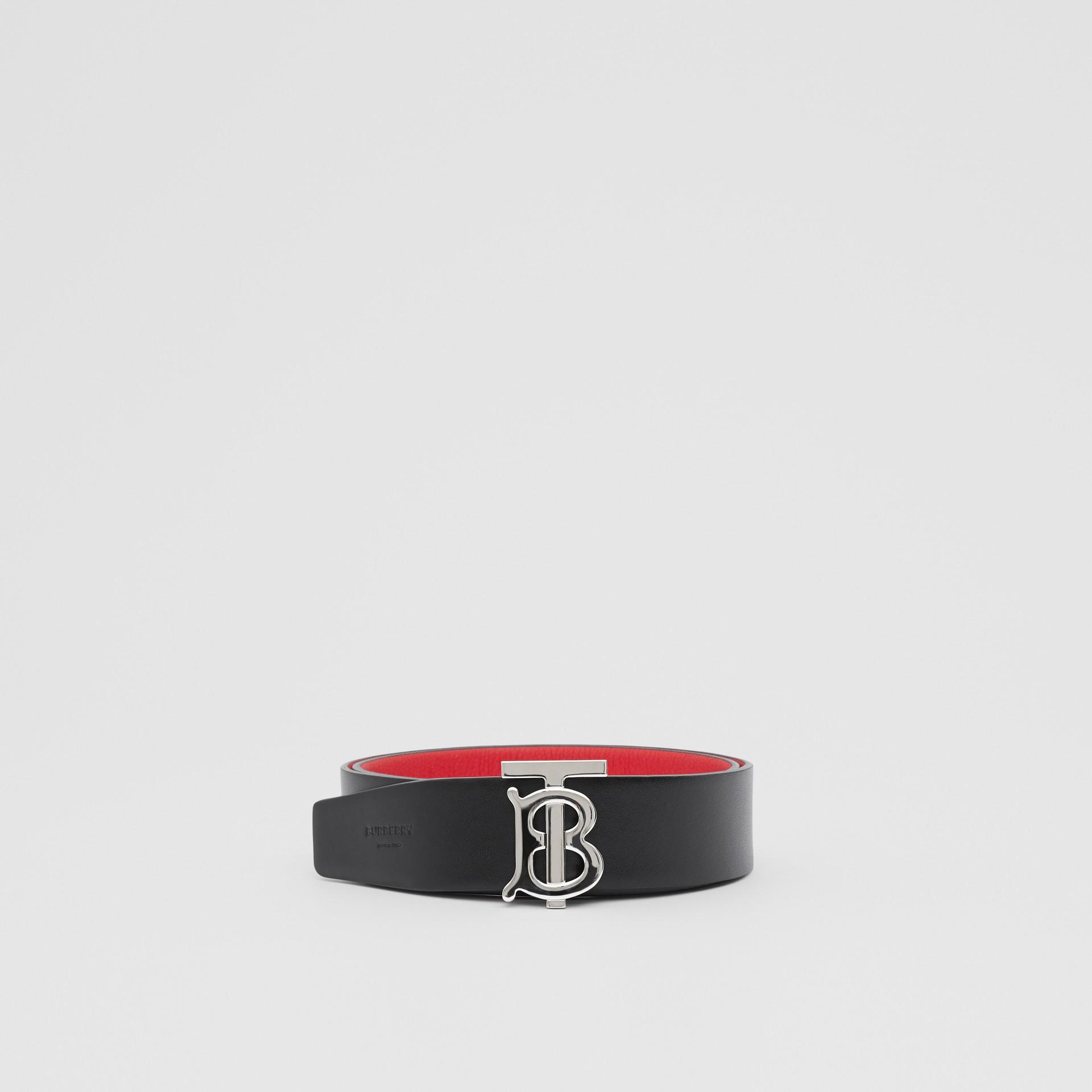 Reversible Monogram Motif Grainy Leather Belt in Military Red/black - Men | Burberry United Kingdom - gallery image 5