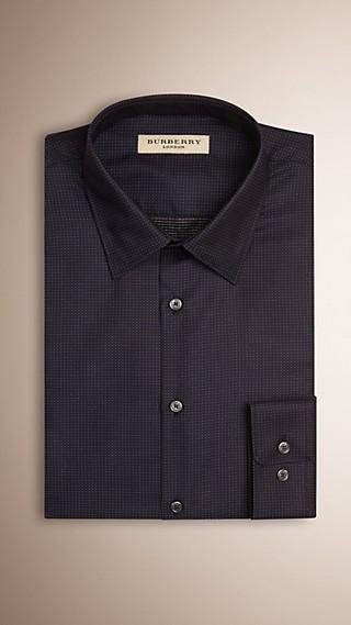 Slim Fit Micro Dot Cotton Shirt