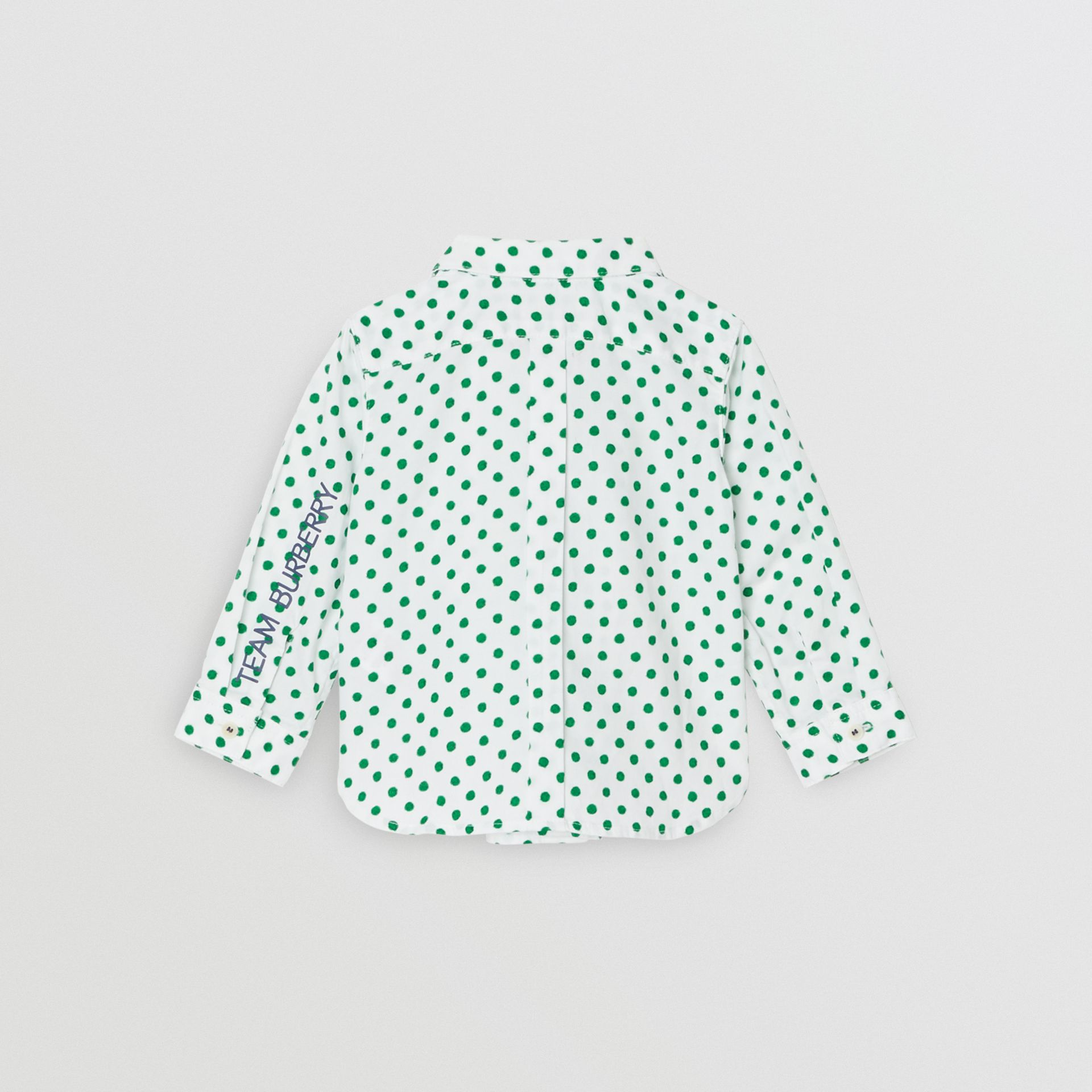 Polka Dot Cotton Oxford Shirt in Emerald Green - Children | Burberry United States - gallery image 3