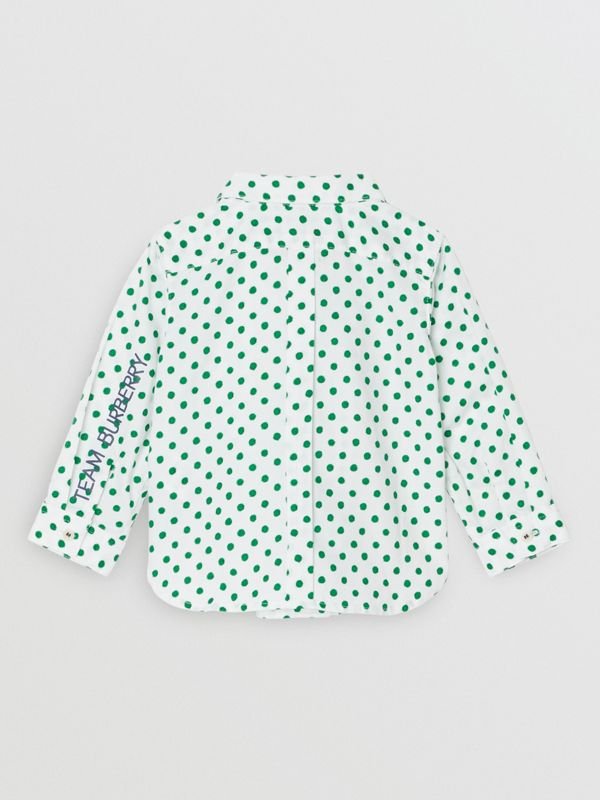 Polka Dot Cotton Oxford Shirt in Emerald Green - Children | Burberry - cell image 3