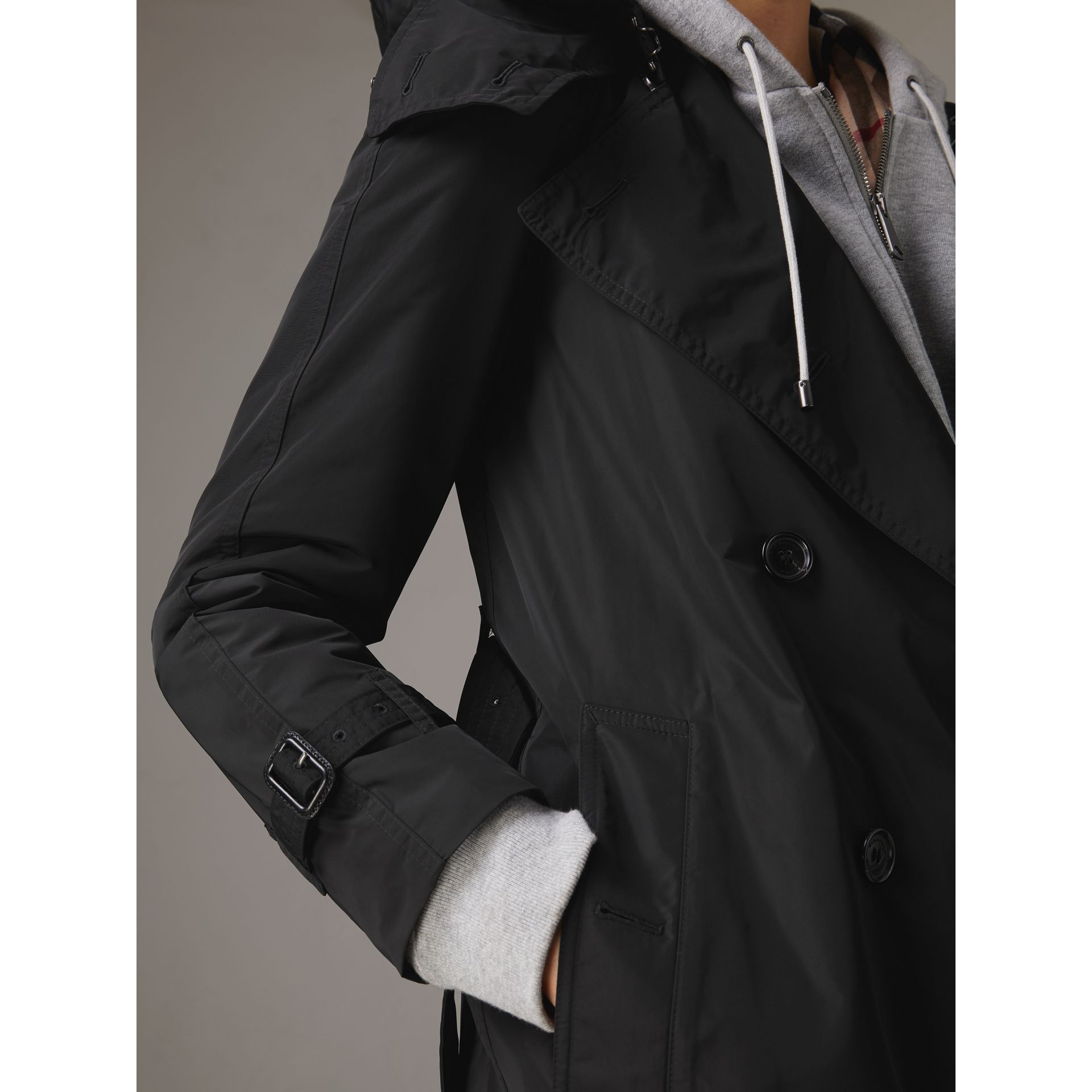 Detachable Hood Taffeta Trench Coat in Black - Women | Burberry Australia - gallery image 5