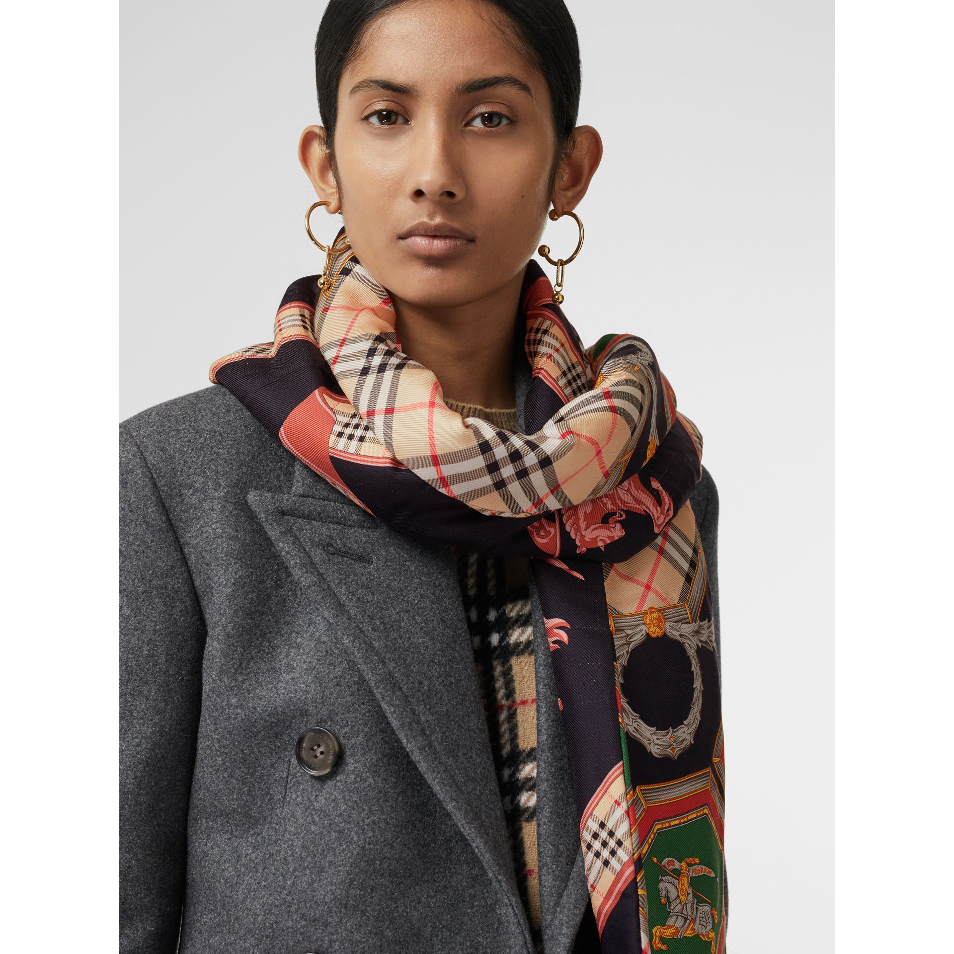 Archive Scarf Print Silk Puffer Scarf in Multicolour | Burberry Singapore - gallery image 3