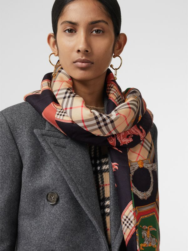 Archive Scarf Print Silk Puffer Scarf in Multicolour | Burberry Singapore - cell image 3