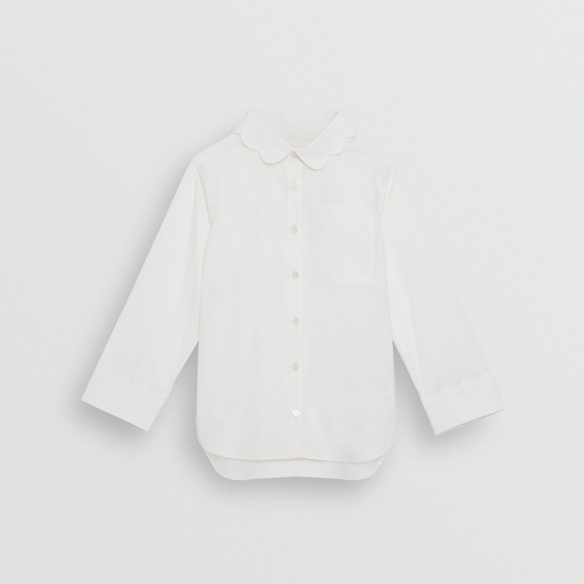 Scallop Detail Stretch Cotton Poplin Shirt in White | Burberry United States - gallery image 0