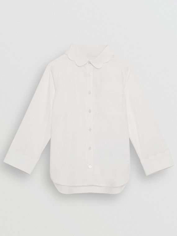 Scallop Detail Stretch Cotton Poplin Shirt in White