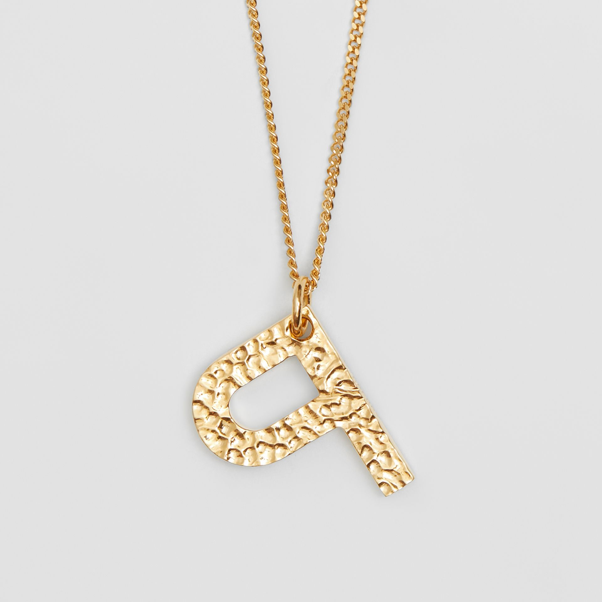 'P' Alphabet Charm Gold-plated Necklace in Light - Women | Burberry United Kingdom - gallery image 2