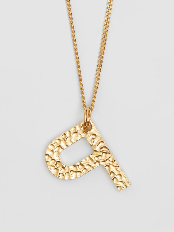'P' Alphabet Charm Gold-plated Necklace in Light - Women | Burberry United Kingdom - cell image 2