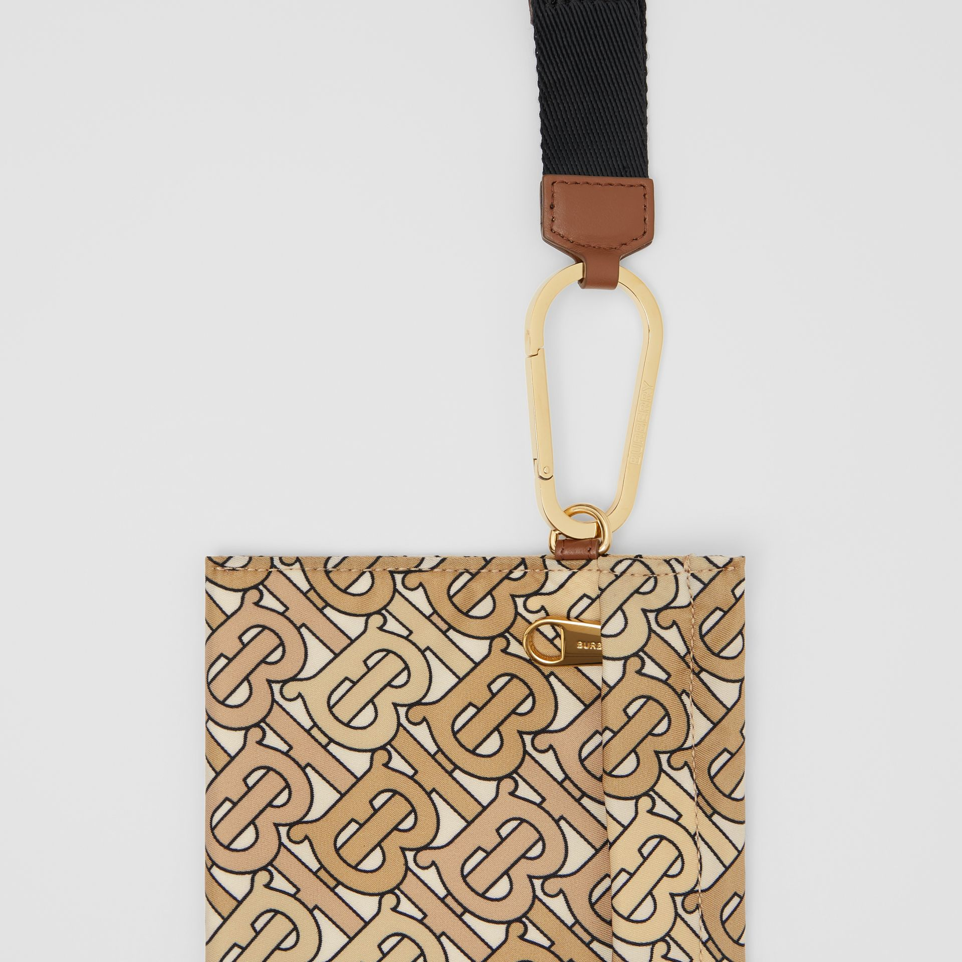 Monogram Print Nylon Zip Pouch in Beige - Women | Burberry - gallery image 1