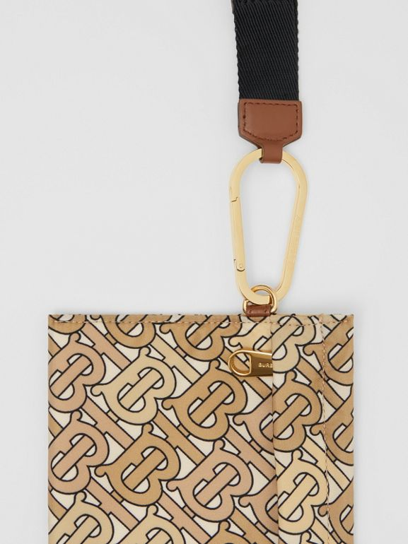 Monogram Print Nylon Zip Pouch in Beige - Women | Burberry - cell image 1
