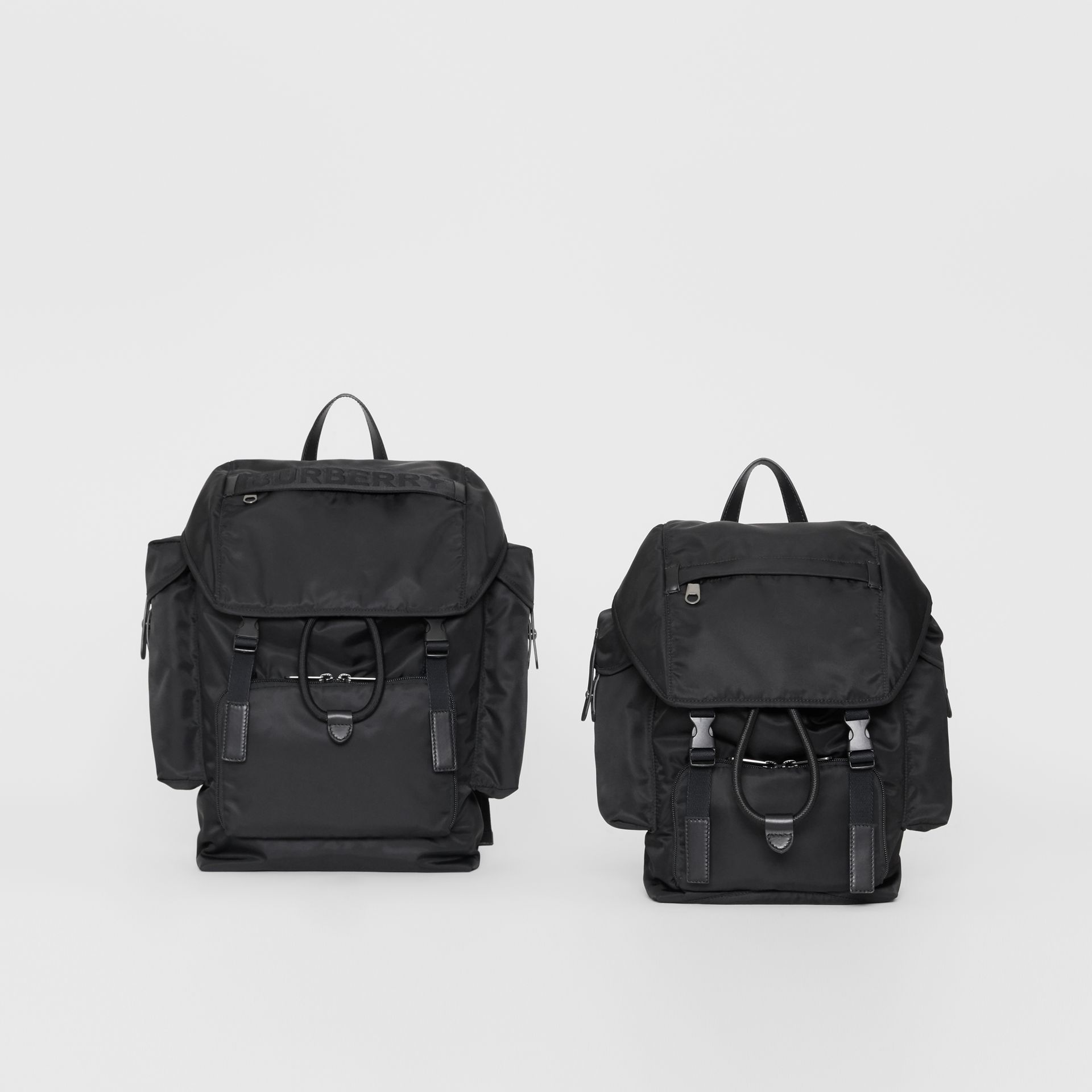 Medium Leather Trim Nylon Backpack in Black | Burberry Australia - gallery image 5