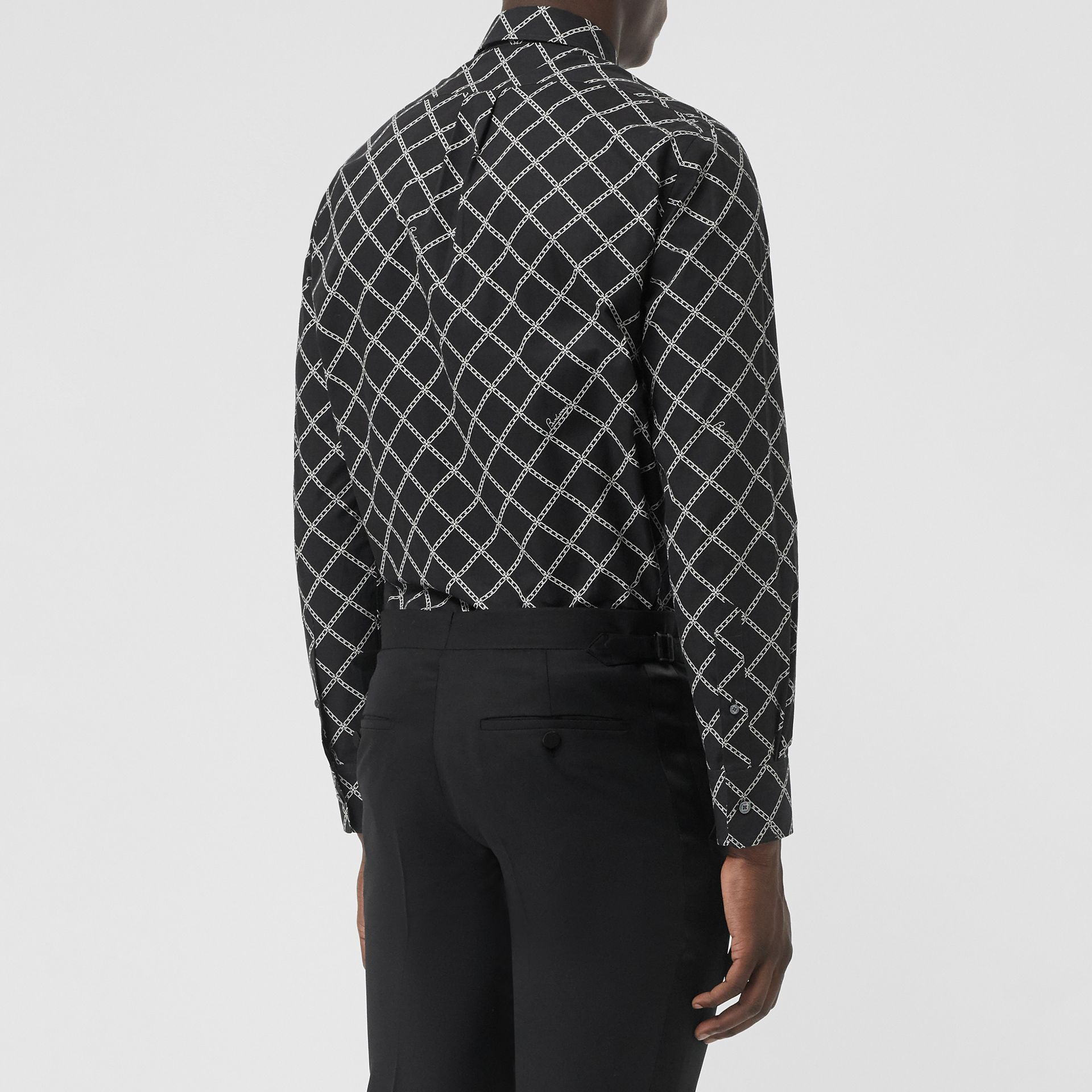 Link Print Cotton Poplin Shirt in Black - Men | Burberry - gallery image 2