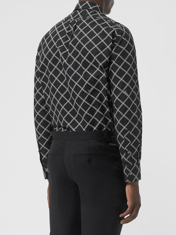 Link Print Cotton Poplin Shirt in Black - Men | Burberry - cell image 2