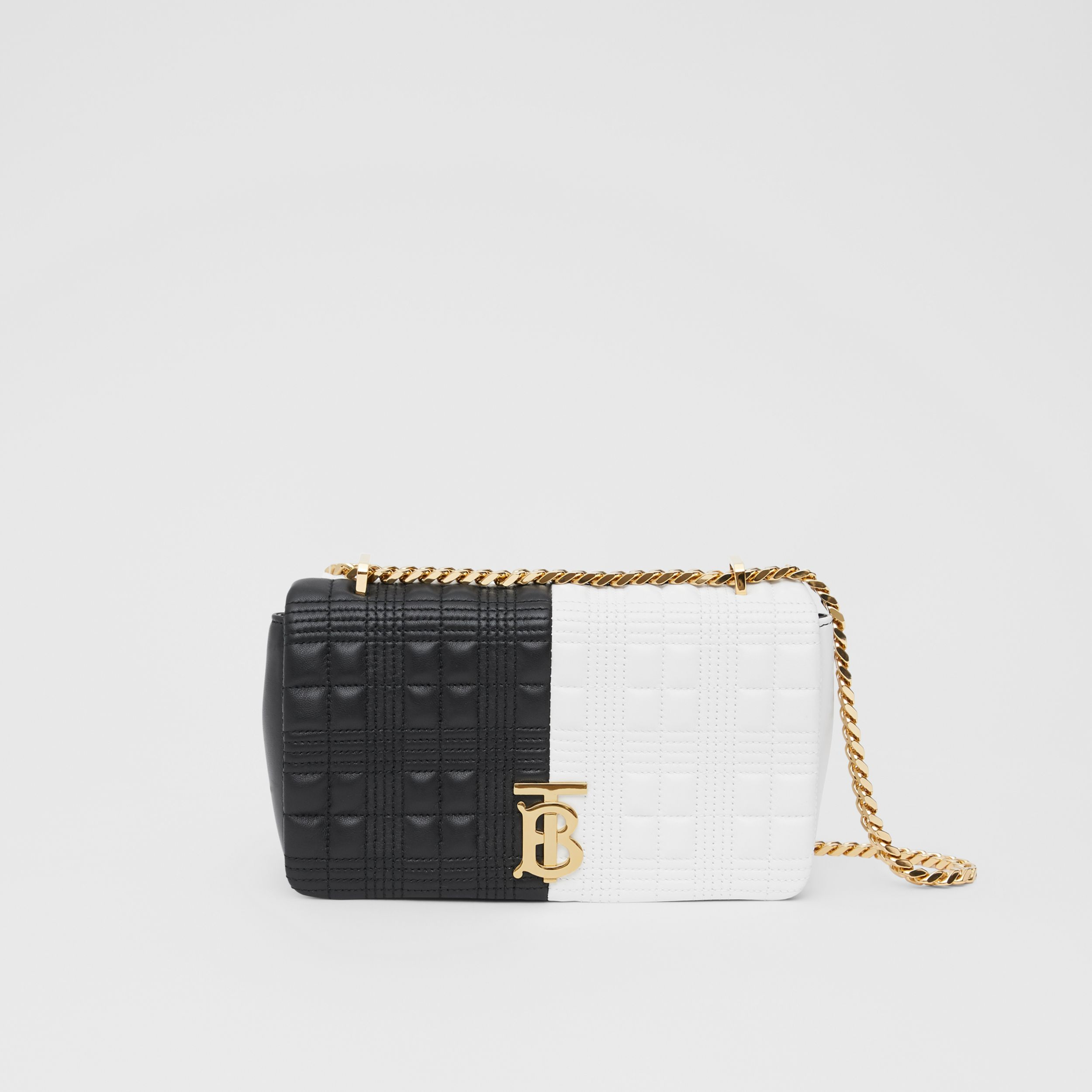 Small Quilted Two-tone Lambskin Lola Bag in White/black - Women | Burberry - 1