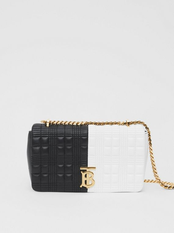 Small Quilted Two-tone Lambskin Lola Bag in White/black