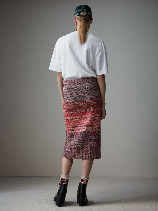Cashmere Cotton Wool Blend Mouliné Skirt in Red/black - Women | Burberry - cell image 2