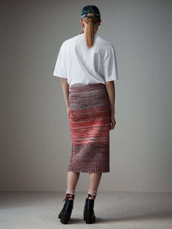 Saia de cashmere, algodão e lã em fio mouliné (Vermelho/preto) - Mulheres | Burberry - cell image 2