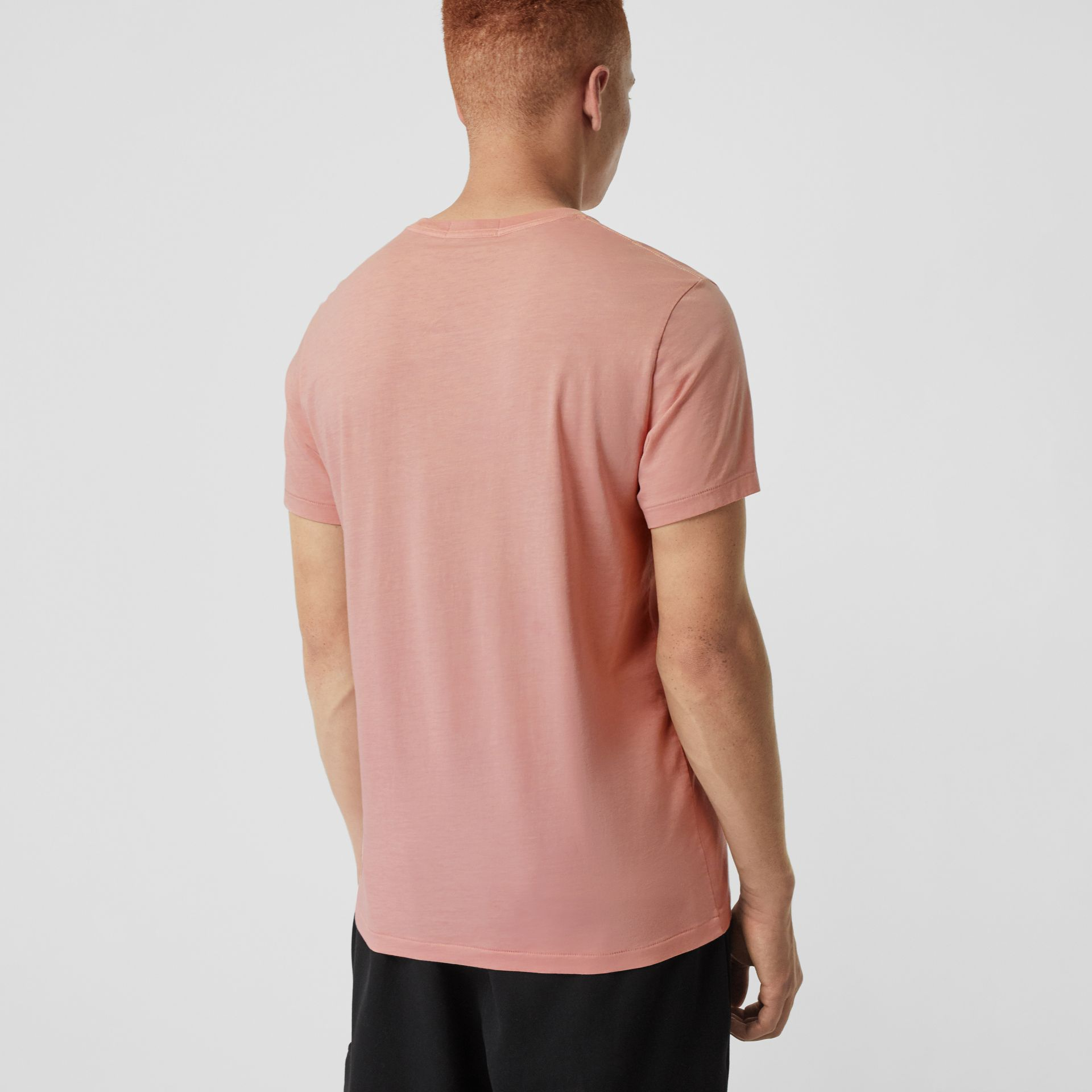 Cotton T-shirt in Chalk Pink - Men | Burberry Australia - gallery image 2