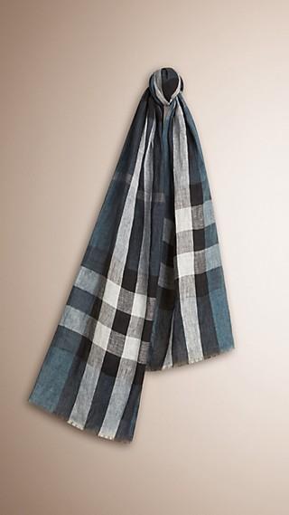 Crinkle-Schal aus Leinen mit Check-Muster