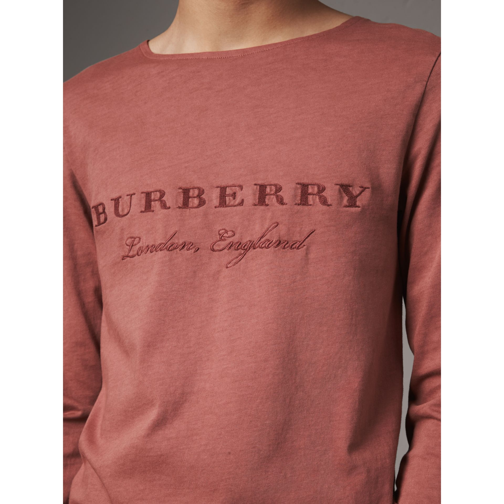 Long-sleeve Embroidered Cotton Top in Rosewood - Men | Burberry - gallery image 1