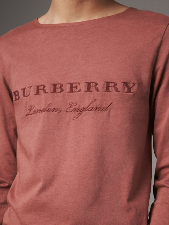 Long-sleeve Embroidered Cotton Top in Rosewood - Men | Burberry Singapore - cell image 1