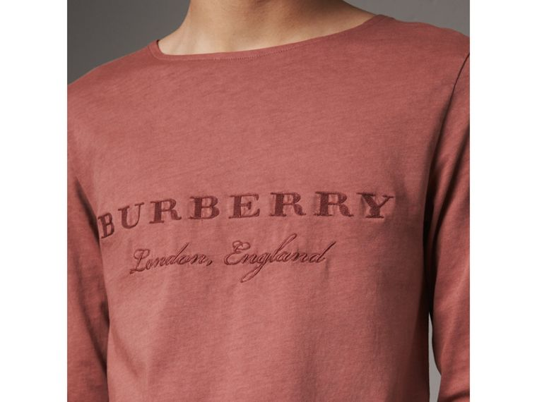 Long-sleeve Embroidered Cotton Top in Rosewood - Men | Burberry - cell image 1