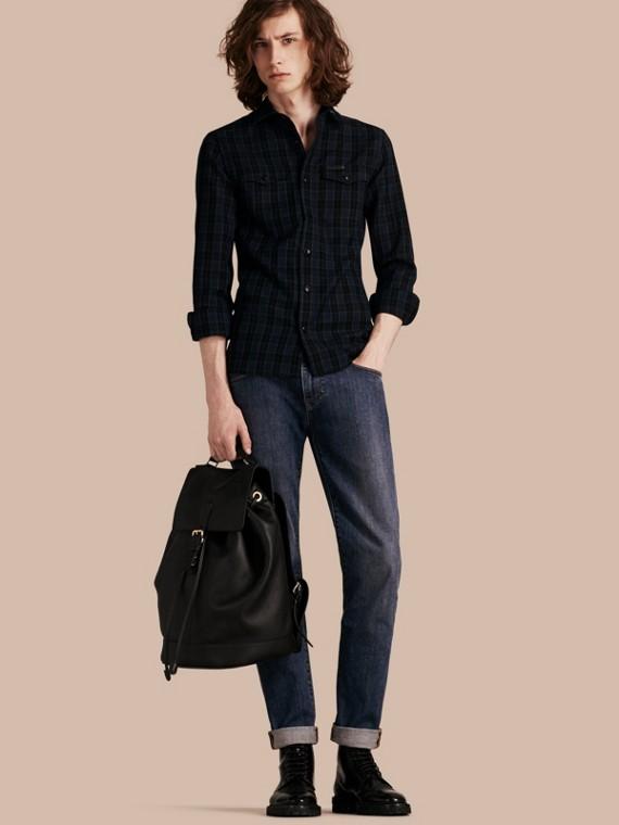 Camicia in misto lana con tartan Black Watch Navy Intenso