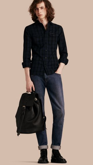 Camicia in misto lana con tartan Black Watch