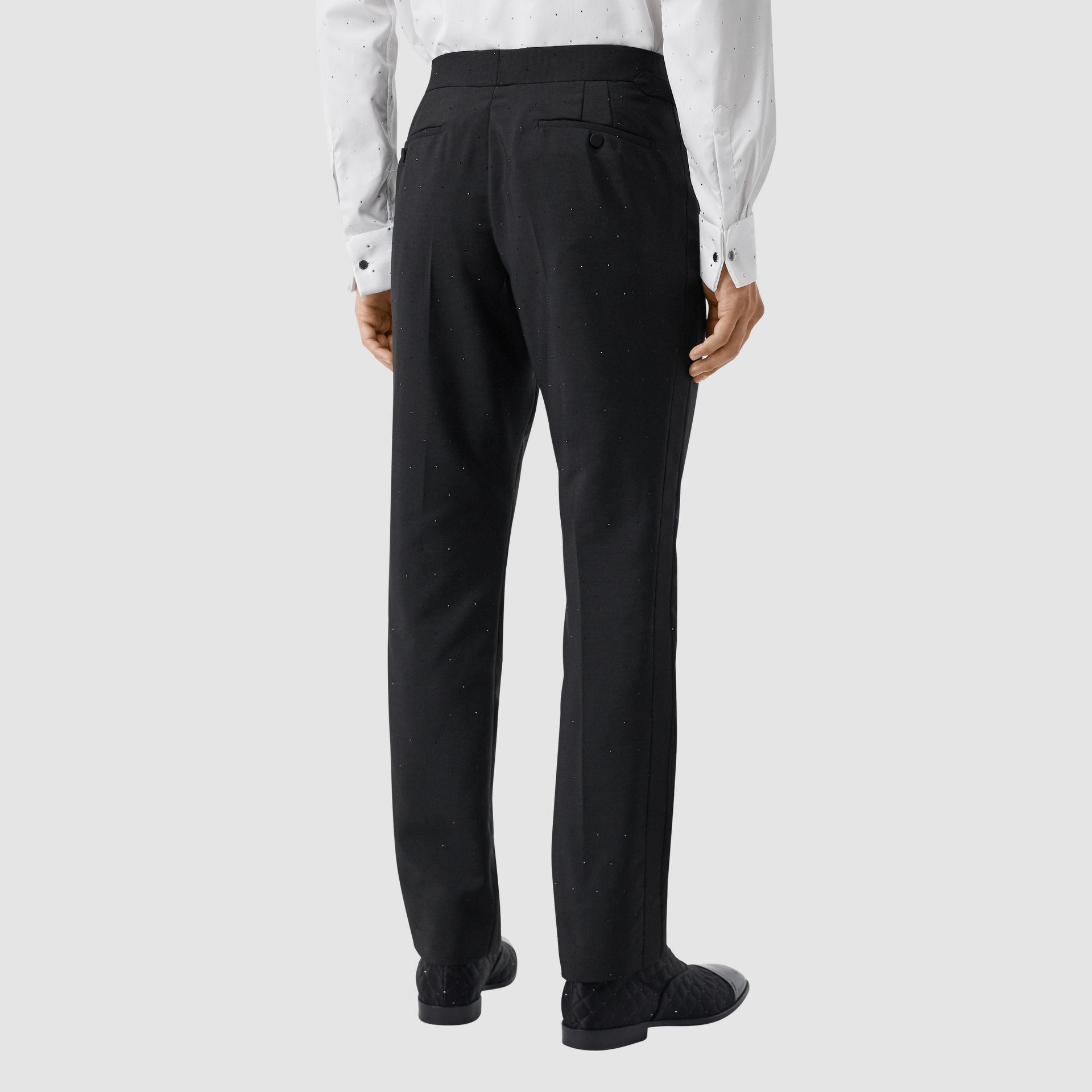 Classic Fit Embellished Mohair Wool Tailored Trousers in Black - Men | Burberry - gallery image 2