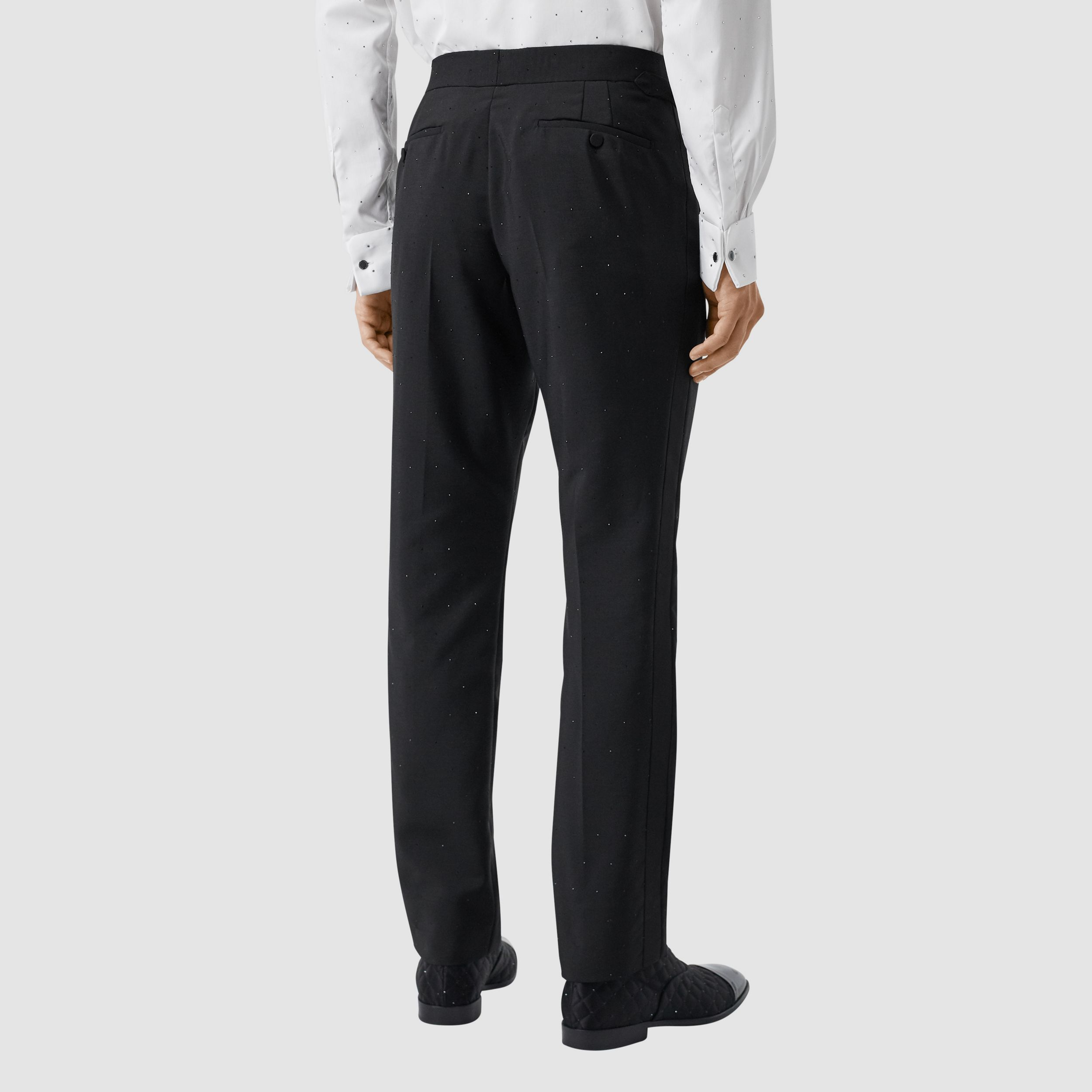 Classic Fit Embellished Mohair Wool Tailored Trousers in Black - Men | Burberry - 3