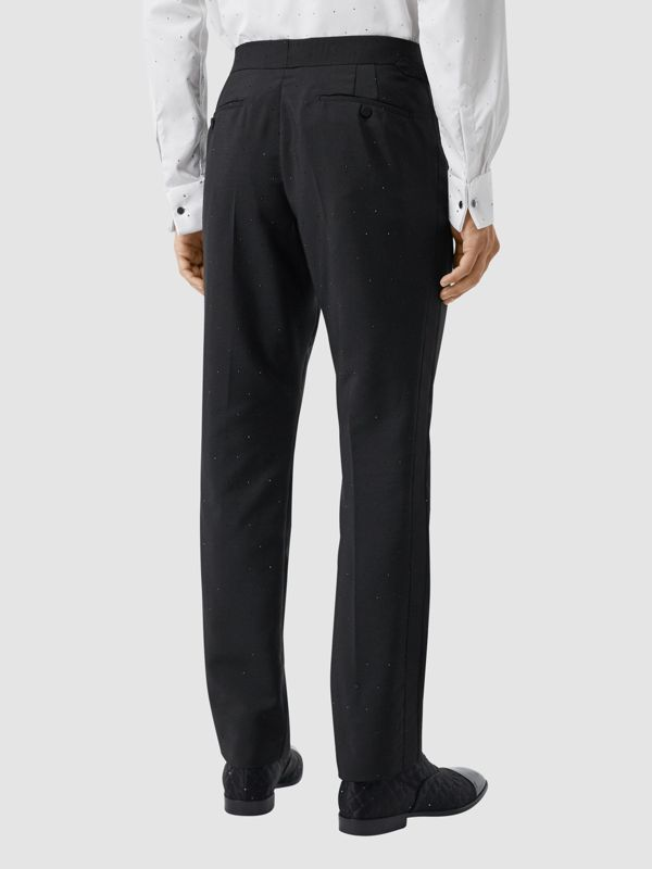 Classic Fit Embellished Mohair Wool Tailored Trousers in Black - Men | Burberry Hong Kong S.A.R - cell image 2