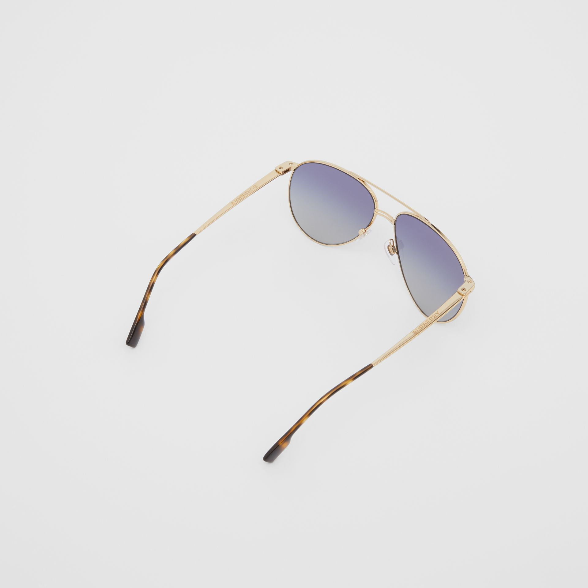 Top Bar Detail Pilot Sunglasses in Gold / Blue - Men | Burberry - gallery image 4