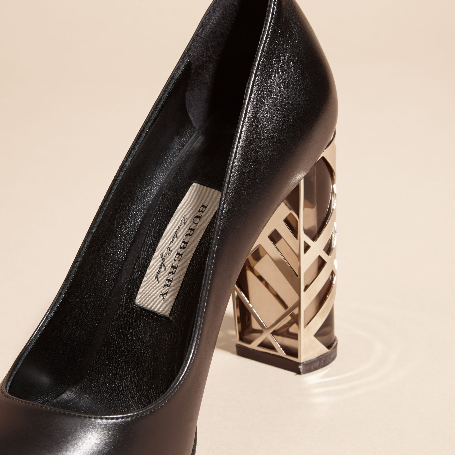 Black Check Heel Leather Pumps Black - gallery image 2