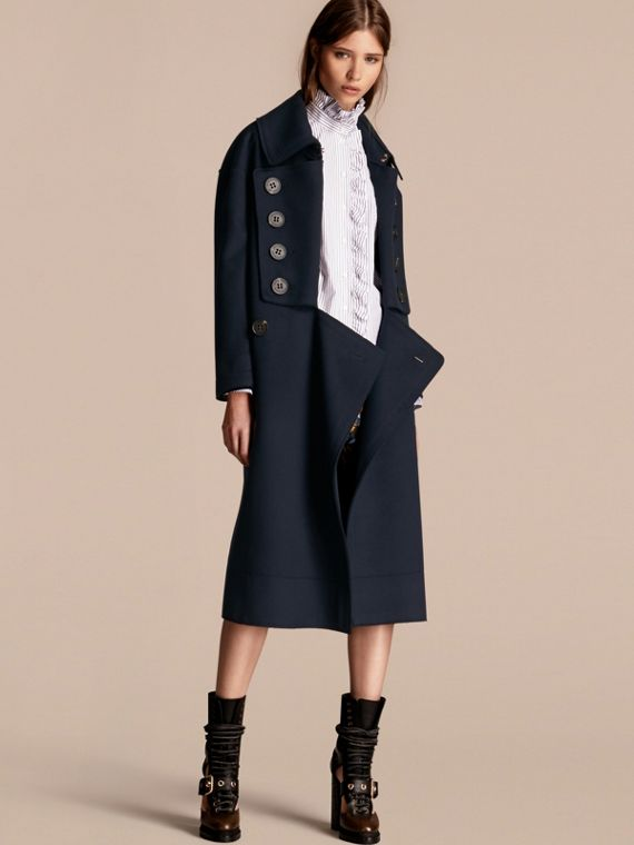 Casaco oversize longo de lã