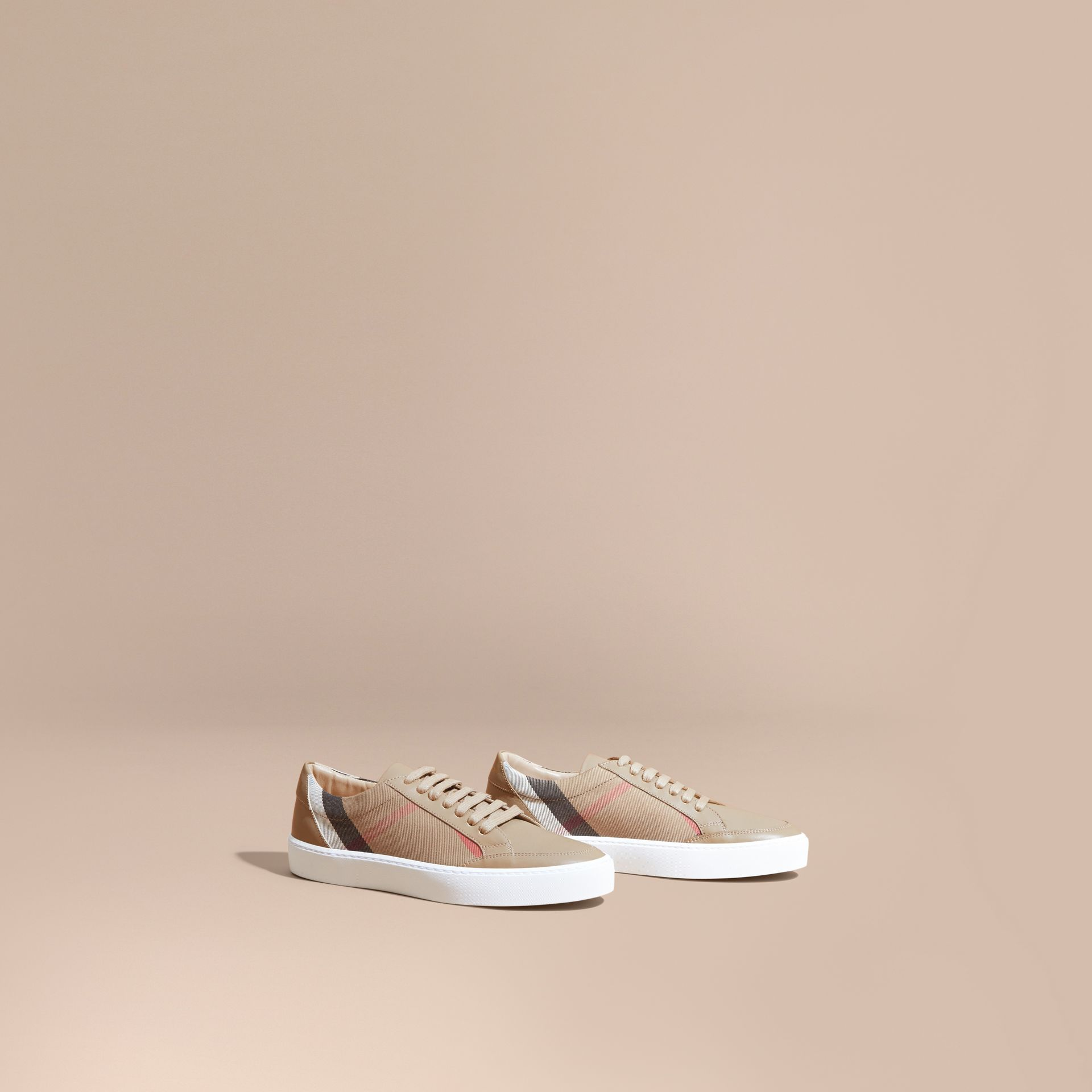 House check/ nude Check Detail Leather Sneakers House Check/ Nude - gallery image 1