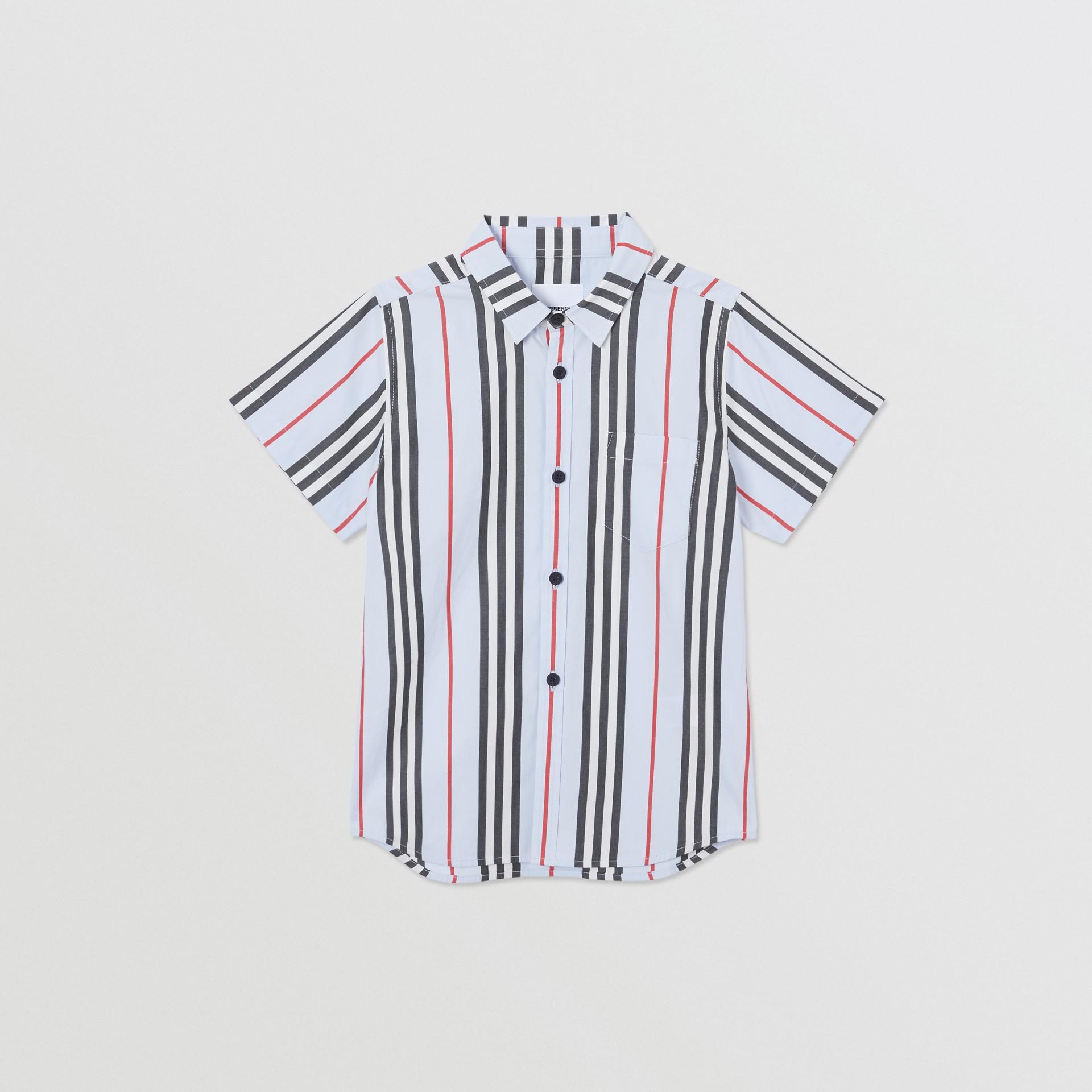 Short-sleeve Icon Stripe Cotton Poplin Shirt in Pale Blue | Burberry United Kingdom - gallery image 0